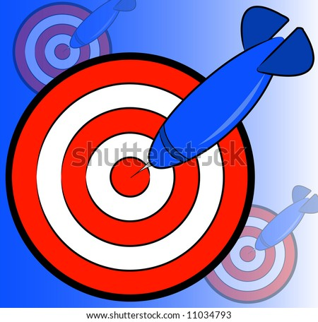 dart and bullseye background on blue - hitting the target