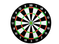 Dart arrow hitting in the target center of dartboard. Success hitting target aim goal achievement concept background.Darts and dart board.Close up shot of the dart arrow.Marketing concept. Dartboard.