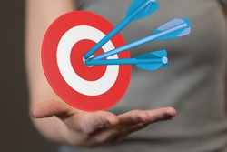 Dart arrow on target dartboard, Business success concept.