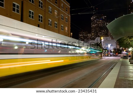 DART - Dallas public transportation streetcar at night
