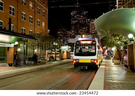 DART - Dallas public transportation streetcar at night