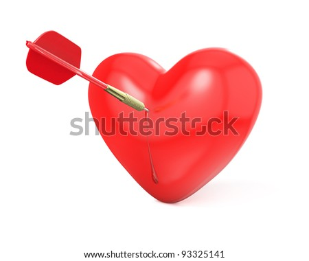 Dart hit the red heart, isolated on white background - stock photo