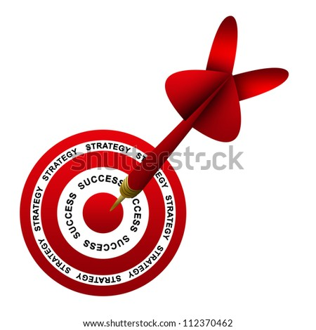 Dart Hitting A Success Target For Business Strategy Concept Isolated On White Background
