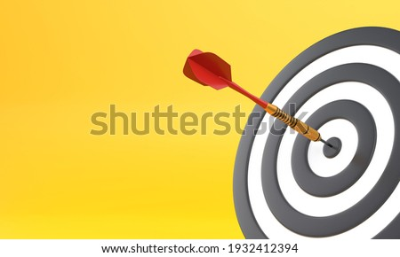 Dart hitting a target on the center on yellow background with copy space. Minimal concept. 3d render illustration Stock photo ©