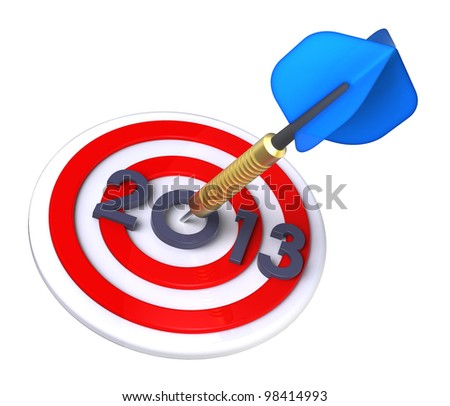 Dart hitting target - New Year 2013. Computer generated 3D photo rendering.
