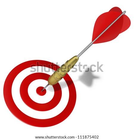 Dart hitting the center mark on target