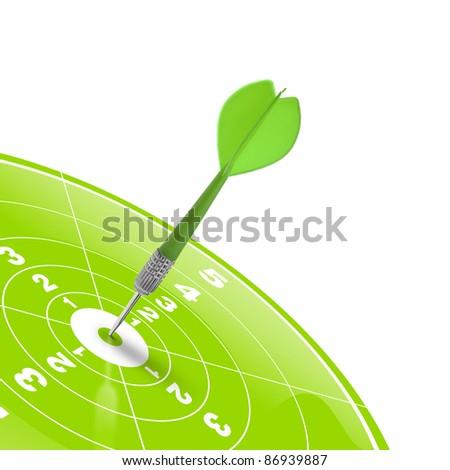 dart hitting the center of a green target