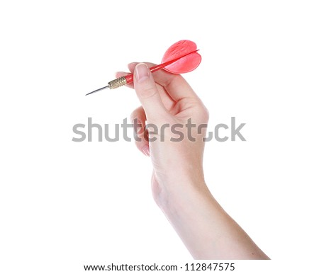 dart in hand isolated on white