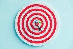 dart in target red circle center of the target dartboard