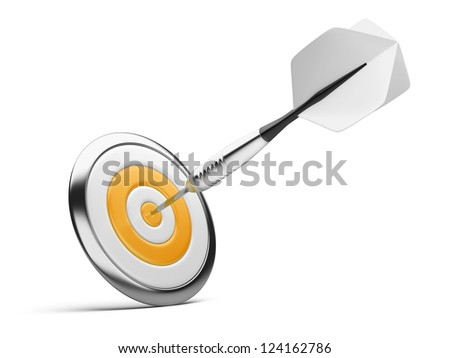 dart on orange target. Business Success Concept.