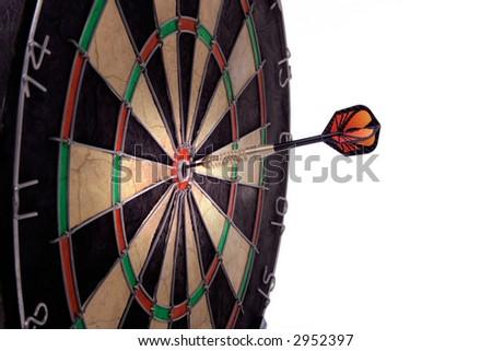 Dartboard with one dart on bulls-eye