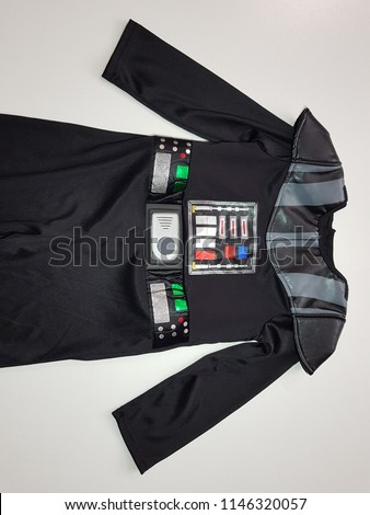 Darth Vader costume. Star Wars. White background