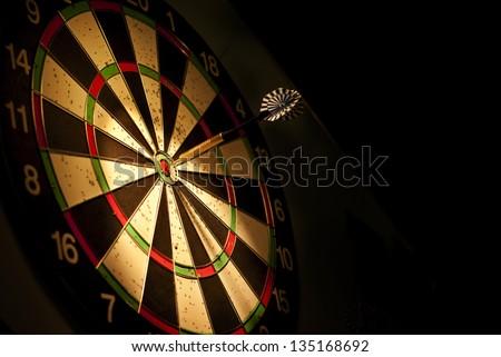 darts arrows in the target center Stockfoto ©