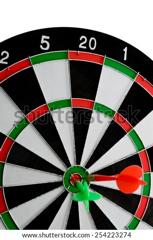 Darts board game. With Target sign