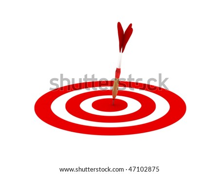 Darts. Dartboard with dart in center isolated on white background. High quality 3d render.