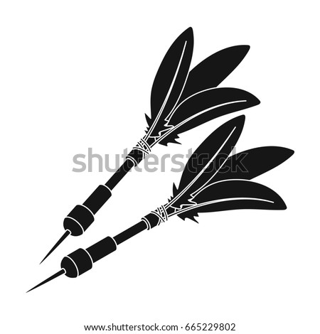 Darts for the wind gun.African safari single icon in black style bitmap,rastr symbol stock illustration web.