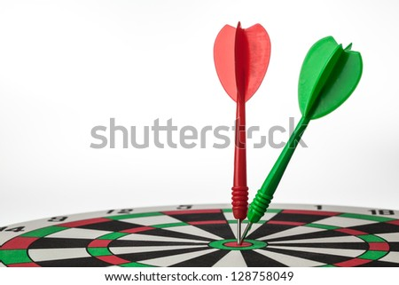 Darts hit on same target in dartboard