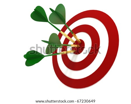 Darts Hitting Target Isolated on White Background