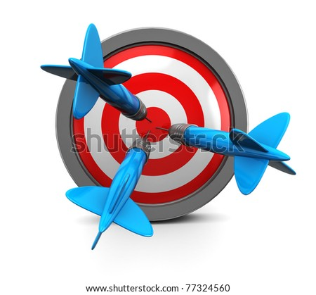 darts in target, over white background