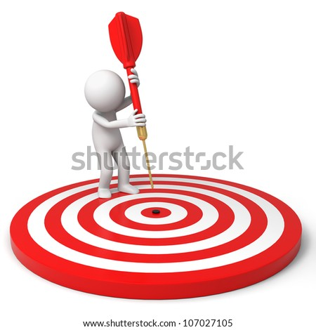 Darts/target/a people is standing on the dartboard with a dart