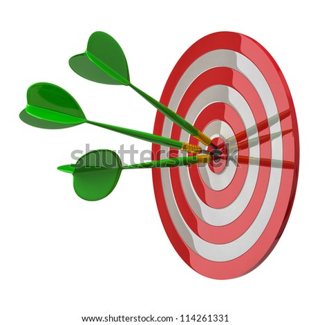 Darts target aim with three arrows in the center 3d - success concept - stock photo