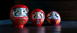 Daruma lucky doll of Good luck japanese put on old brown wooden floor and old wooden wall background (Japan language translate to good luck and happy),    Choose focus and free space for message