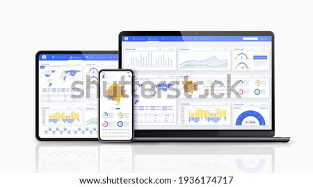 Dashboard, great design for any site purposes. Business infographic template.   flat illustration. Big data concept Dashboard user admin panel template design. Analytics admin dashboard