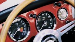 dashboard of a british classic roadster
