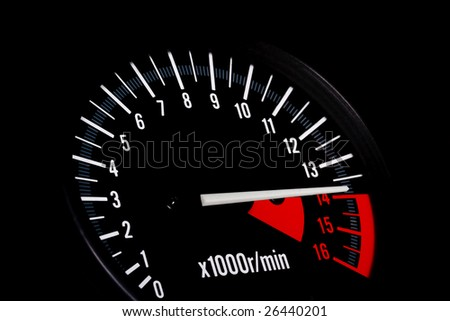 Dashboard of a sports motorbike. Tachometer close up.