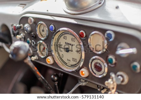 Dashboard of a vintage truck