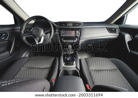 Dashboard of modern car with big screen and gearstick isolated Stock photo ©