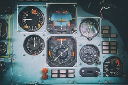 Dashboard of the old Soviet military aircraft