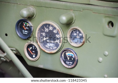 Dashboard of vintage US army jeep #118423345