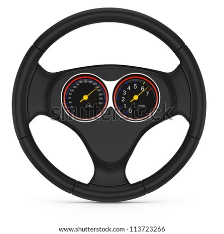 dashboard on steering wheel isolated on white background. 3d render