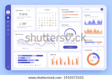 Dashboard. UI infographic, data graphic and chart. Screen with business analytics. Admin statistical software, web interface  template. Illustration statistical infographic data screen