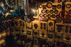 Dashboard, valves and appliances in old decommissioned Russian diesel submarine