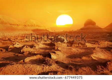 Dasht-e Lut deser  - the hottest place on Earth. Sunset in the desert. Iran. Persia.