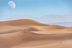 Dasht-e-Lut, Lut desert,hottest desert in the world, also known like Kalut Desert with full moon above horizon