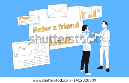 Data analysis, Business Analysis, Data Visualization promotional vector illustration with two friends, making market research for web.