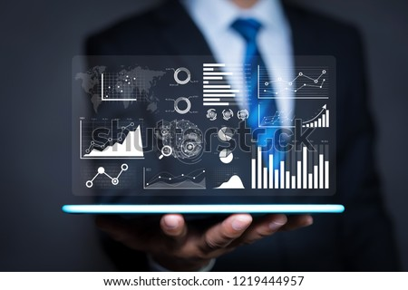 Data analytics report and key performance indicators on information dashboard for Business strategy and business intelligence.
