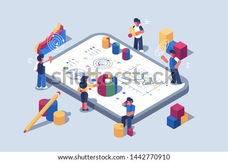 Data analytics systems software for mobile devices illustration. Small people characters near giant gadget with different graphs charts and diagram. Statistical infographics