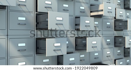 Data archive storage. Gray filing cabinets with open drawers background. Office document data, bureaucracy and business administration concept. 3d illustration Stock photo ©
