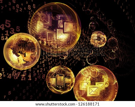 Data Bubble series. Backdrop composed of telecommunication symbols and design elements and suitable for use in the projects on communication and information technologies