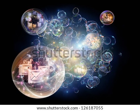 Data Bubble series. Composition of telecommunication symbols and design elements suitable as a backdrop for the projects on communication and information technologies