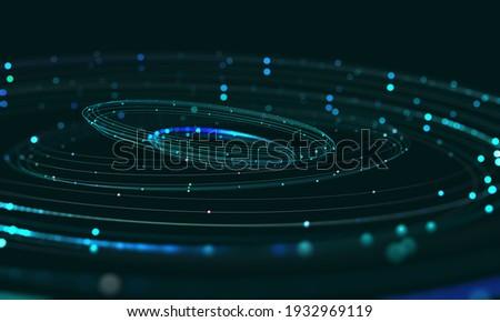 Data center, Big data analytics. Business technologies of our time. Massive data, digital funnel, information whirlpool. Orbit, trajectory, flow, information 3D illustration Foto stock ©