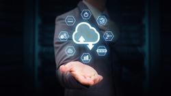 Data center communication network cloud service concept