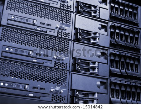 Data center computer server room cluster stock photo