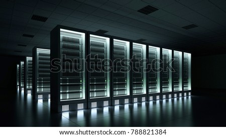 Data center in the dark with glowing servers 3d rendering