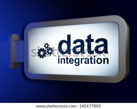 Data concept: Data Integration and Gears on advertising billboard background, 3d render
