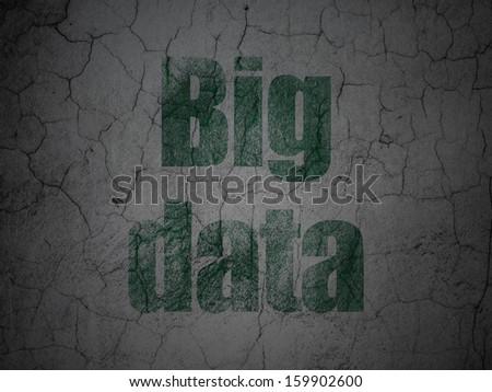 Data concept: Green Big Data on grunge textured concrete wall background, 3d render